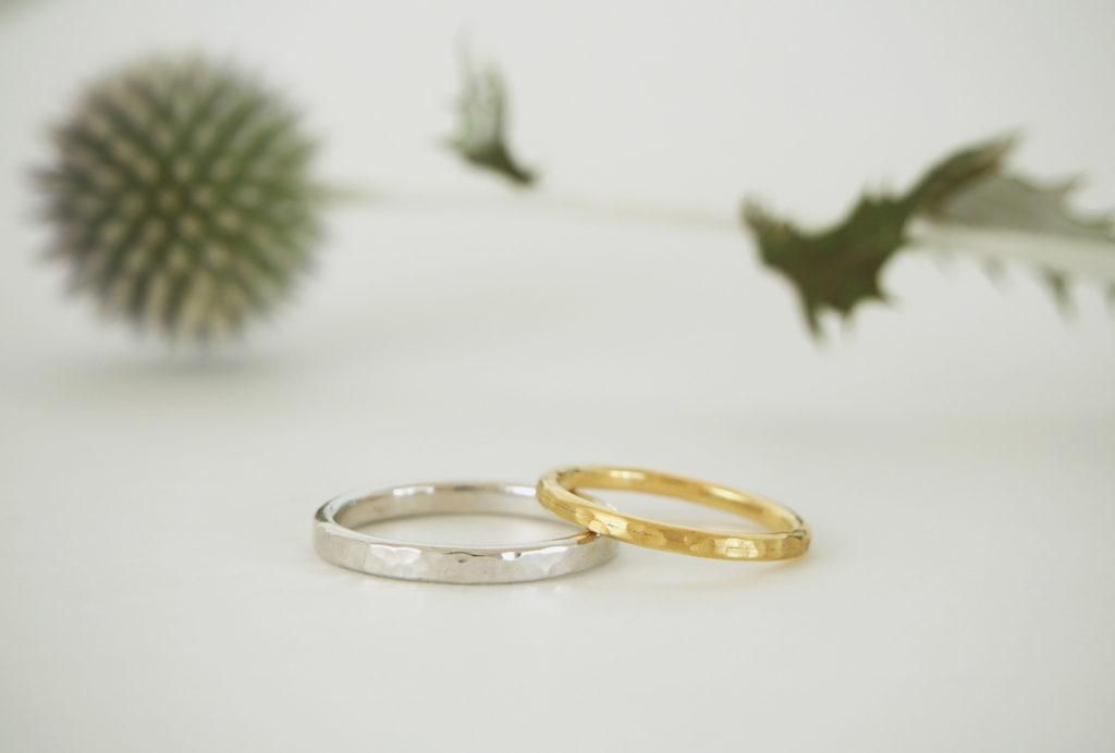 pt900/k18結婚指輪oval鎚目