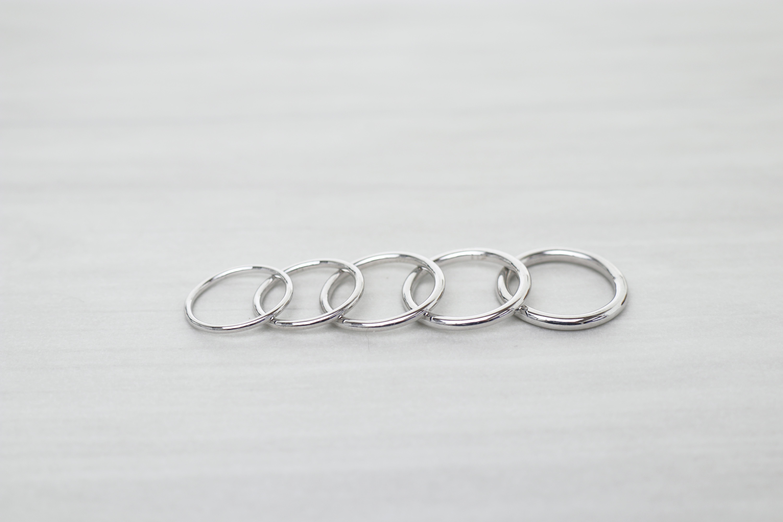 ふたりで手作りする結婚指輪『round』のいろいろなサイズ