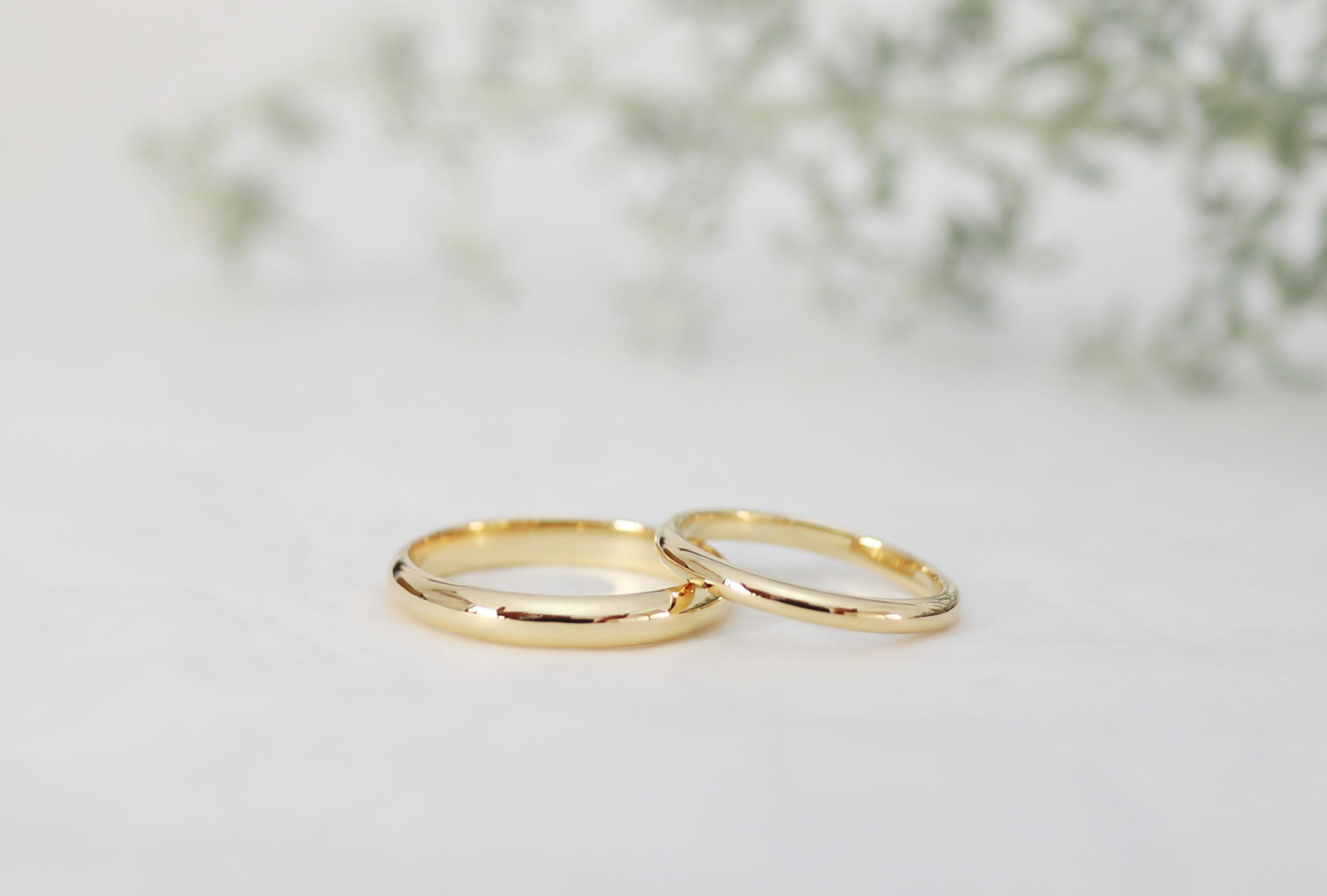 K18イエローゴールドのふたりで手作りした結婚指輪
