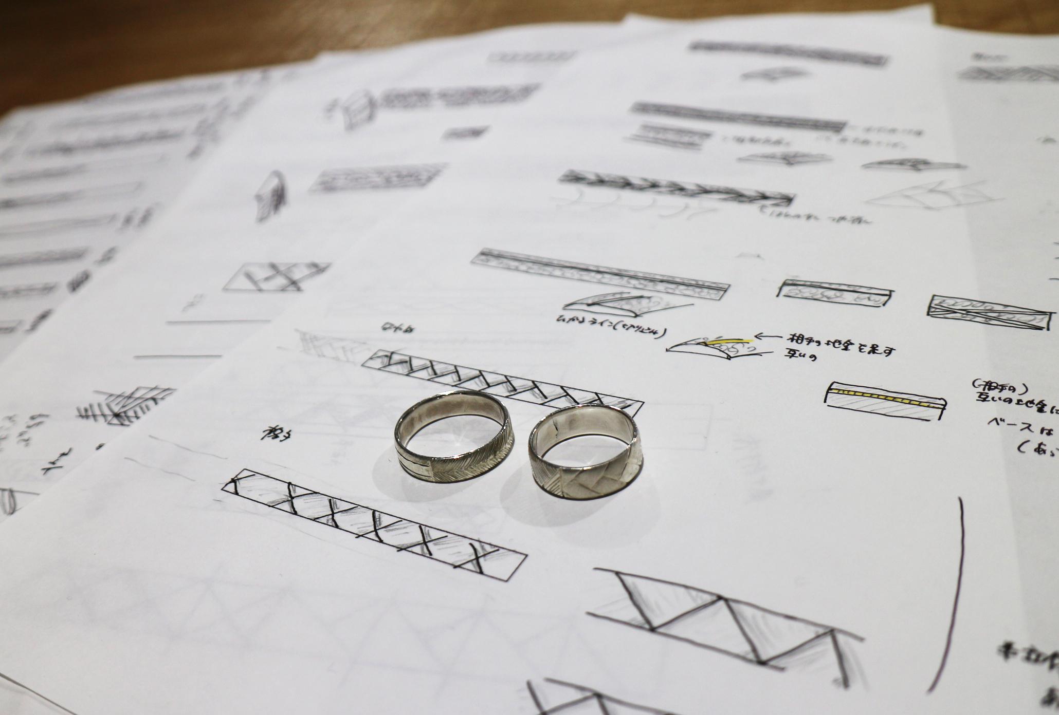 フルオーダーマリッジリングのデザイン画
