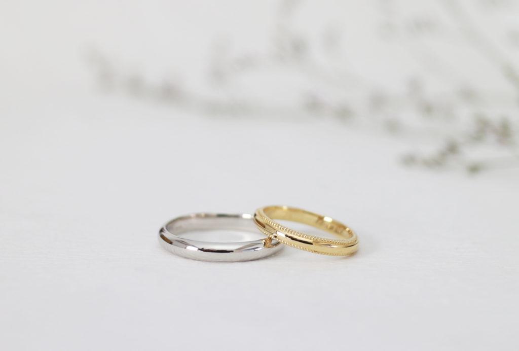 ふたりで手作りしたミル打ちの結婚指輪