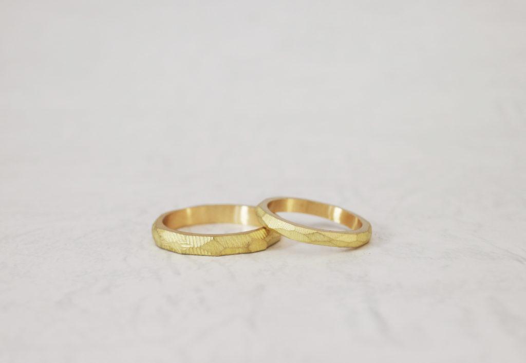 ふたりで手作りした結婚指輪仕上げ前