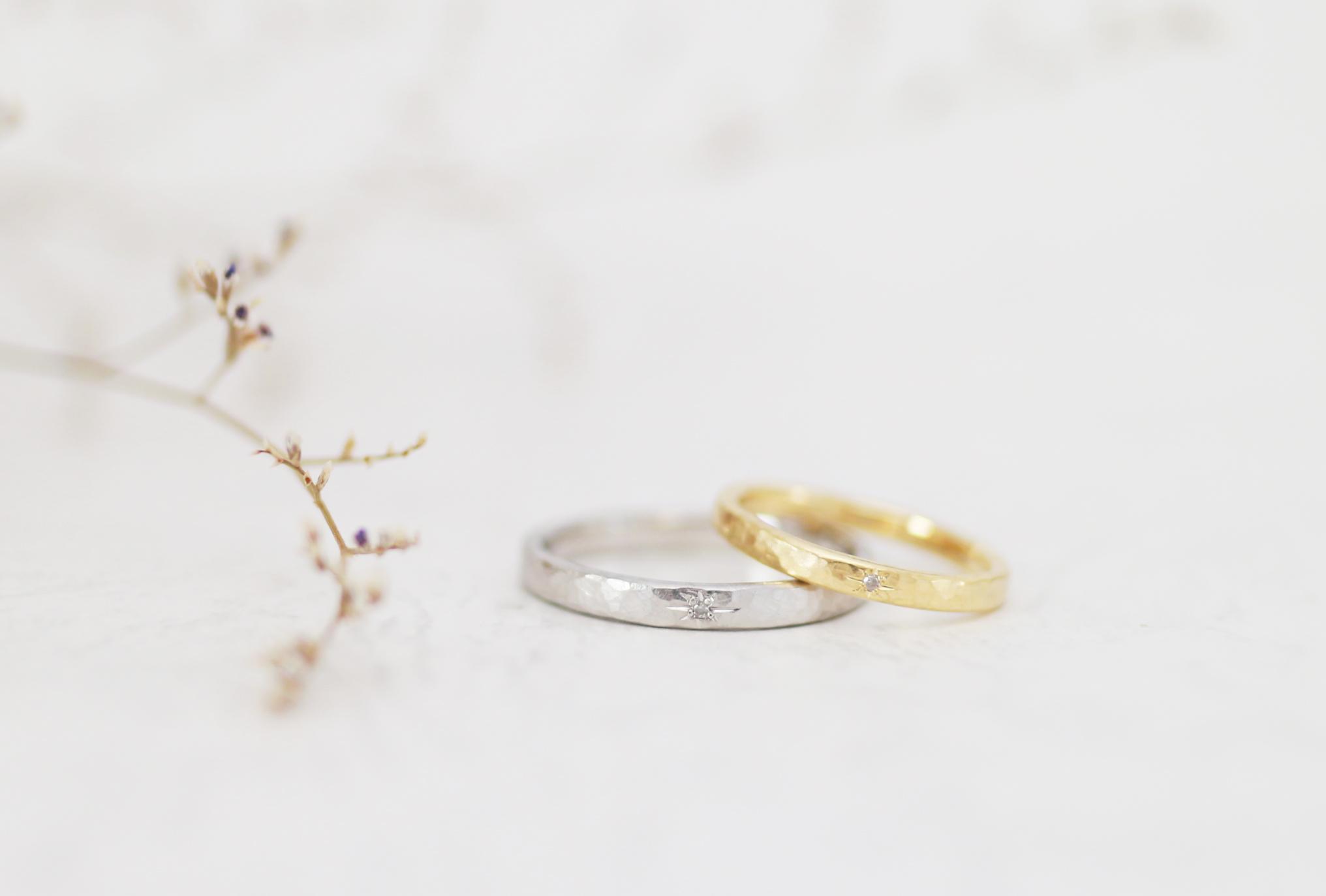 ふたりで手作りした星留めの結婚指輪