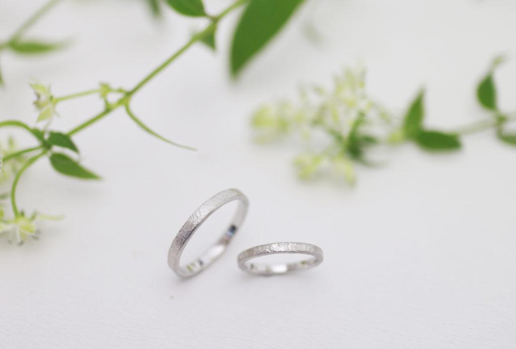 荒らした模様の手作り結婚指輪完成