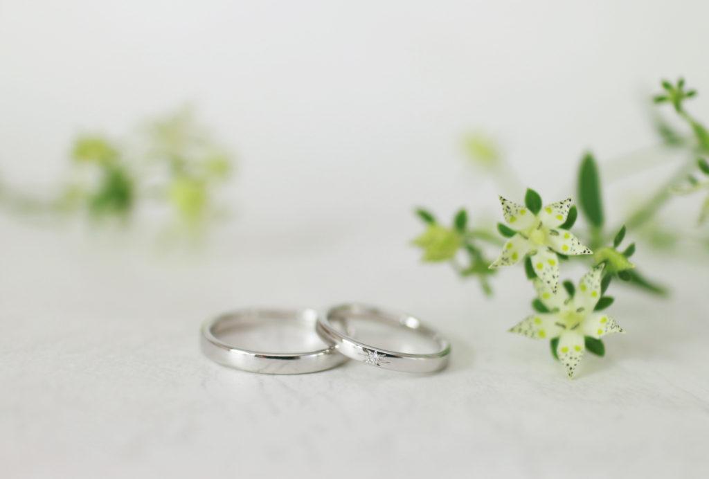 星留めの手作り結婚指輪