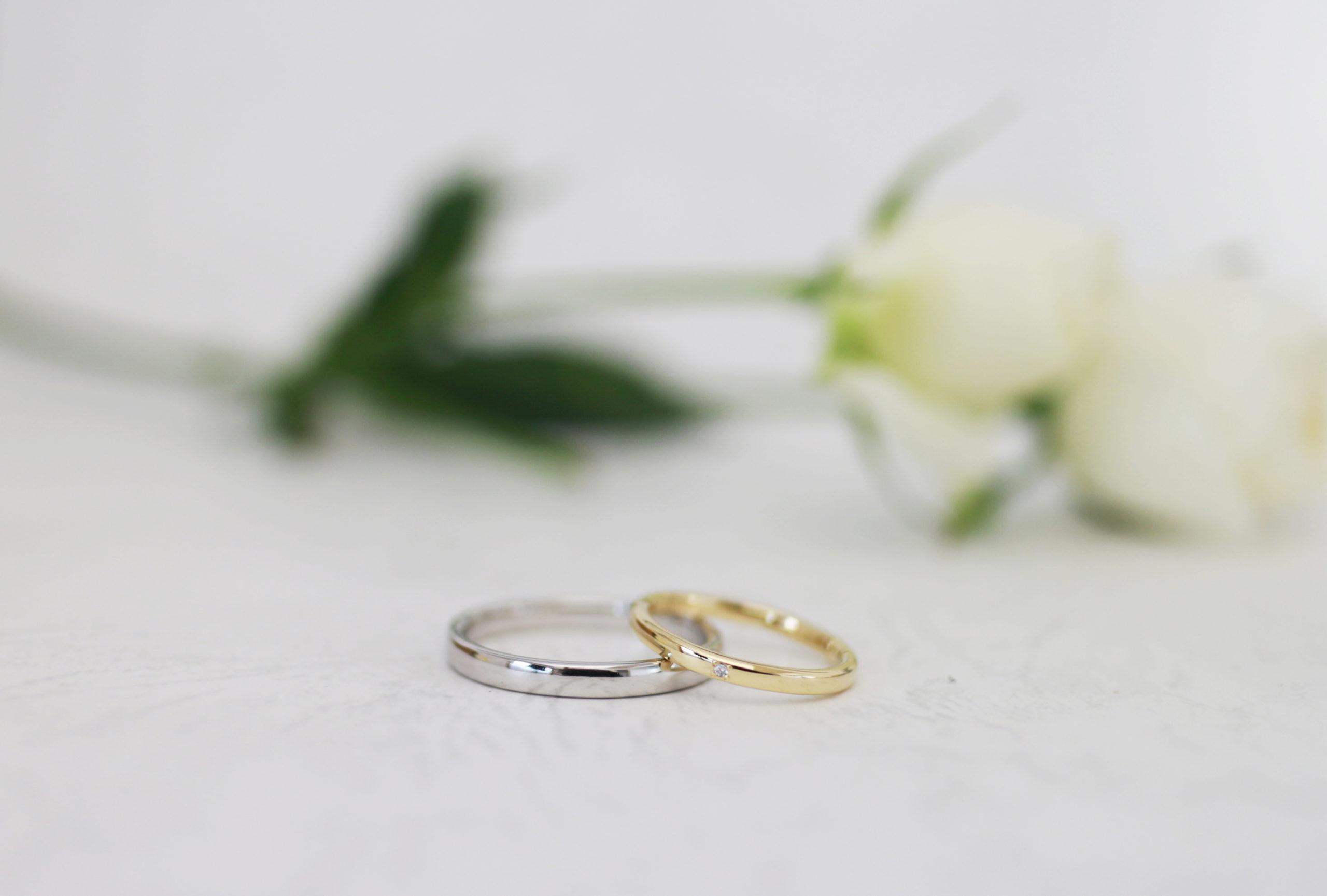 素材違いの手作り結婚指輪
