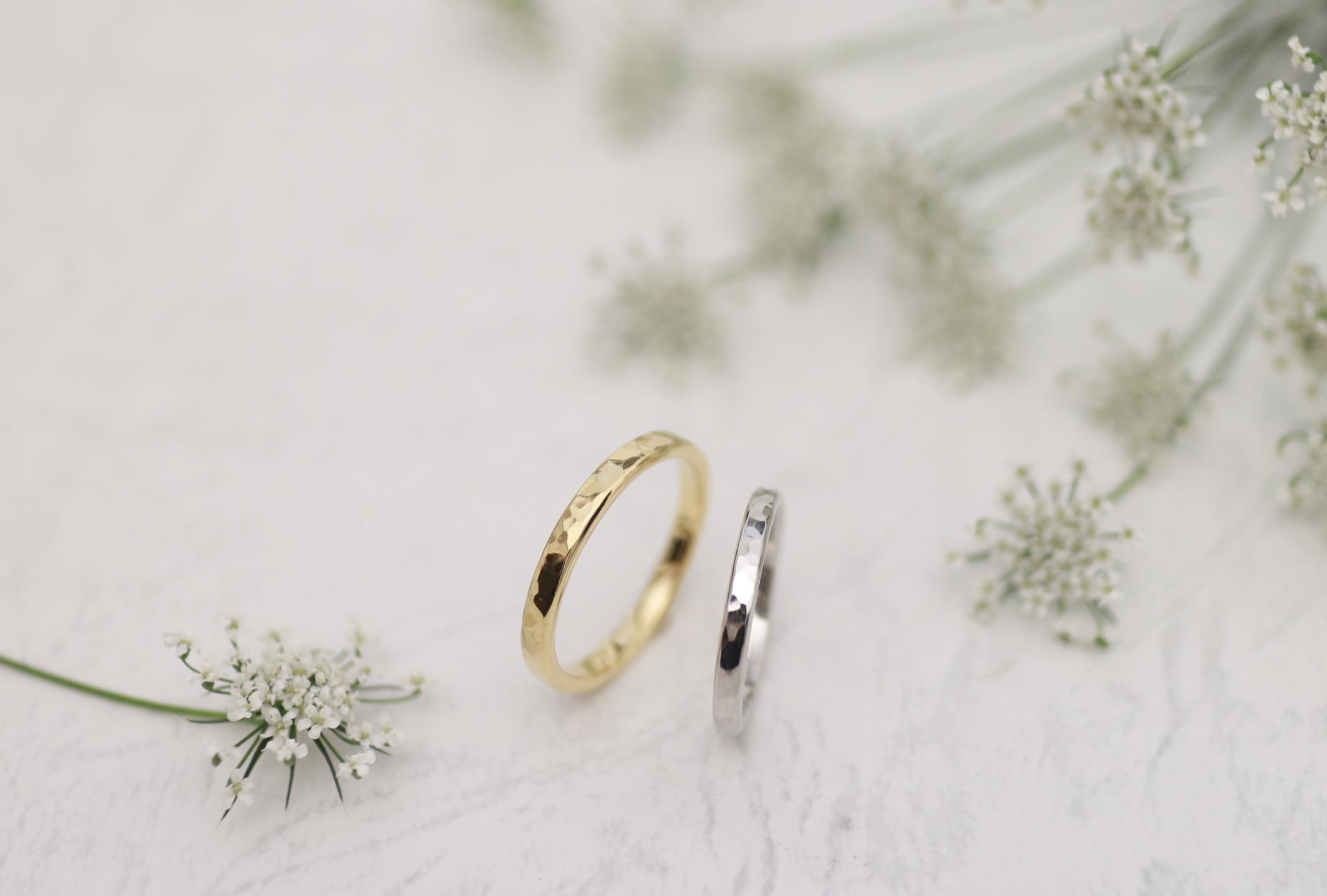 サイズぴったりに調整した手作り結婚指輪