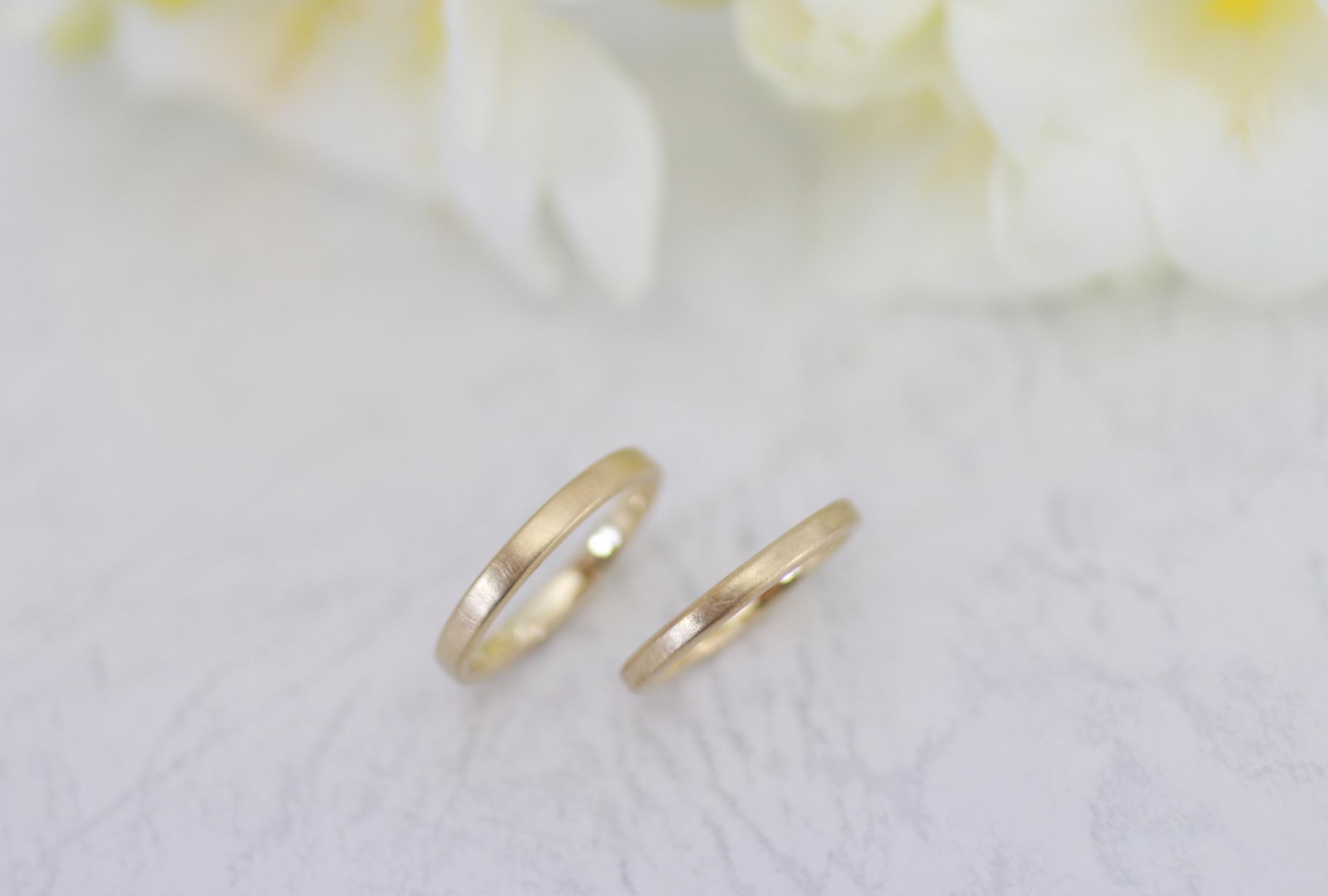 お気に入りのゴールドの手作り結婚指輪