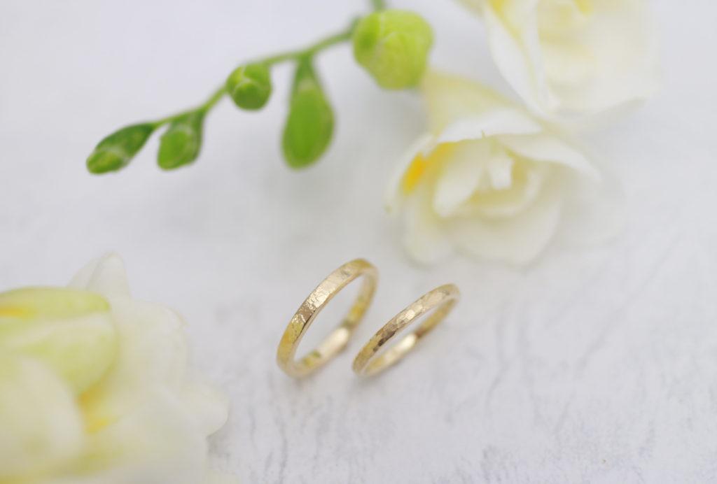 ゴールドのテクスチャー違いの手作り結婚指輪