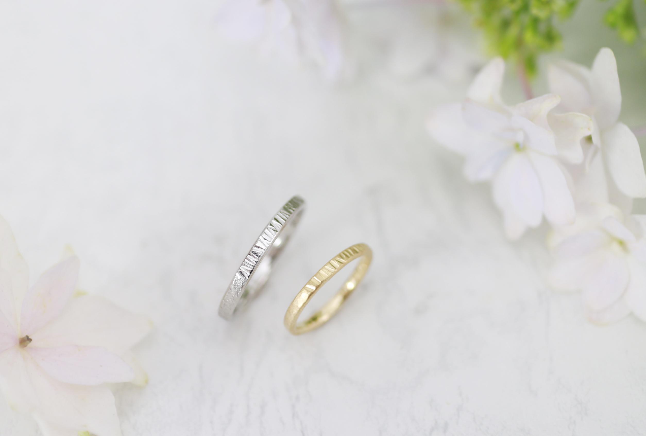 半分づつデザインを変えた手作り結婚指輪