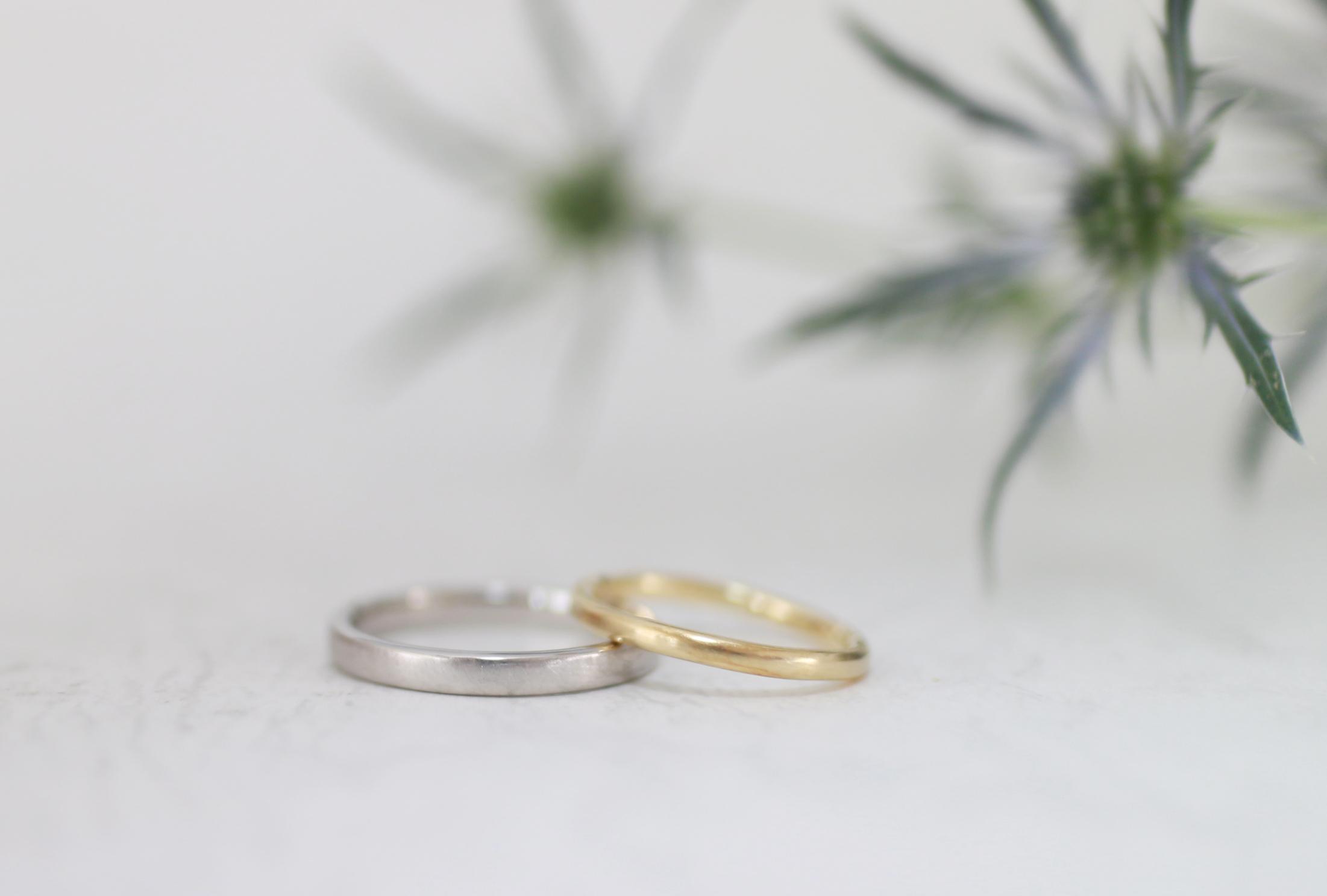 やさしいつや消しの手作り結婚指輪